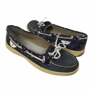 SPERRY | Top Sider blue nubuck silver polka dot 9